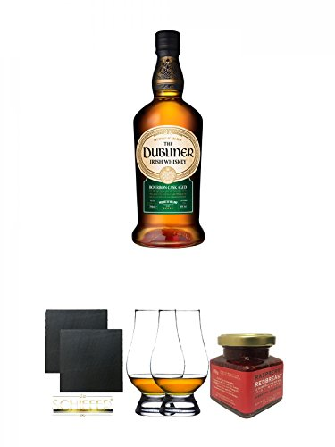 The Dubliner Irish Whisky 0,7 Liter + Schiefer Glasuntersetzer eckig ca. 9,5 cm Ø 2 Stück + The Glencairn Glass Whisky Glas Stölzle 2 Stück + Redbreast 12 Jahre Himbeere Marmelade 150 Gramm Glas