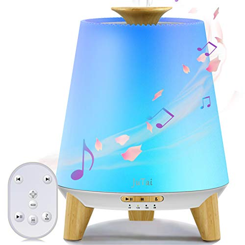 JuTai Essential Oil Diffuser, Diffuser with Bluetooth Speaker, Ultrasonic Humidifier, Remote Control Aromatherapy Diffuser with 7 Colors LED Lights, Timing/Waterless Auto Off