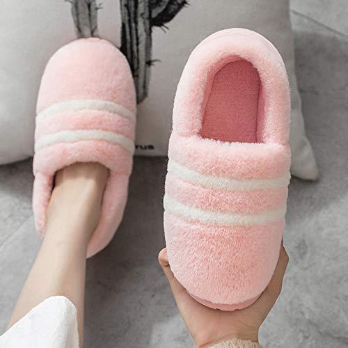 B/H Pareja Zapatos Slippers,Pantuflas Calientes de Suela Gruesa, Pantuflas Antideslizantes de Piel para Hombres-R_39-40,Nvierno Hombre Pantuflas