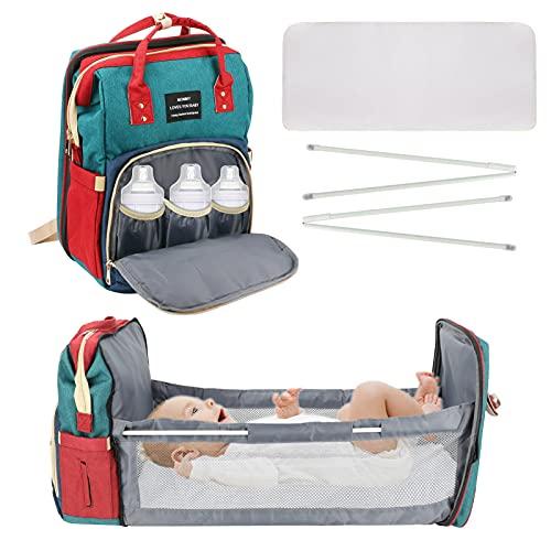 Yideng Zaino per pannolini per neonati, borsa per pannolini portatile con fasciatoio, borsa per pannolini impermeabile multifunzione con culla pieghevole automatica per uomo donna da viaggio