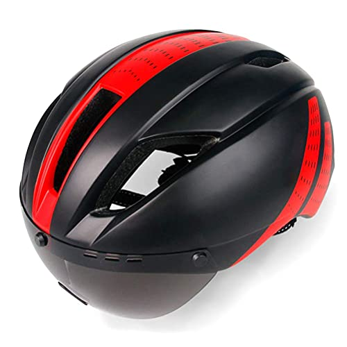 Casco de bicicleta Casco de bicicleta de carreras con gafas magnéticas extraíbles, cascos de bicicleta ajustables para mujeres y hombres