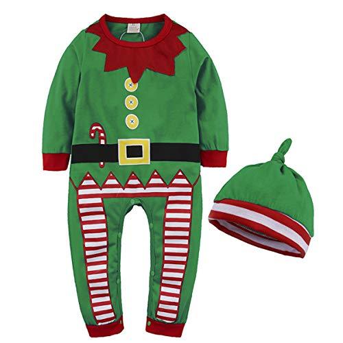 Formesy Bambino Ragazzi Natale Pagliaccetto Neonato Elfo di Natale Costume con Cappello (90 (9-12 Mesi), Verde)