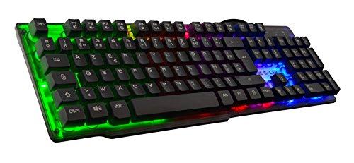 THE G-LAB - KEYZ Neon - Teclado Gaming de Alto Rendimiento - Membrana de Alta Precisión - Retroiluminación Rainbow - Layout Español