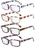 Eyekepper 4 Paia Occhiali da Lettura Le signore - Lettori di Design a Strisce Colorate per Donna Lettura +0.75