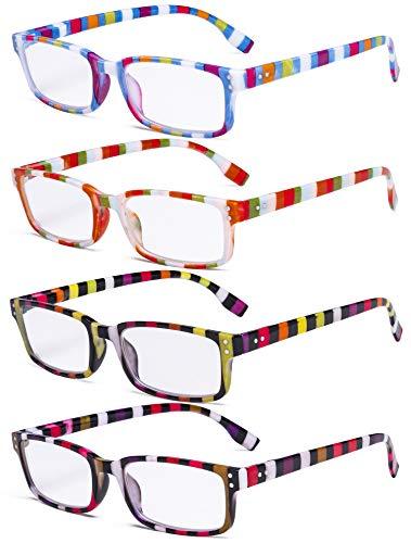 Eyekepper Damen-Lesebrille im 4er-Pack - Lesebrille im Buntfarben Streifen design für Damen +2.00