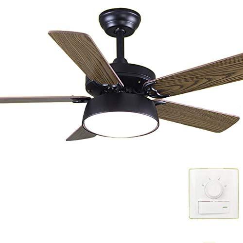 MAMINGBO Ventilador de techo con control de techo Luz y control remoto Ventilador de techo Hierro Salón Salón Salón Dormitorio Simple Hogar Chandelier (42 pulgadas blanca negra) (Color : Blanco)