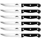 G.a HOMEFAVOR 6-piece Steak Knife Set Serrated Stainless Steel Sharp Blade Flatware Steak Knives