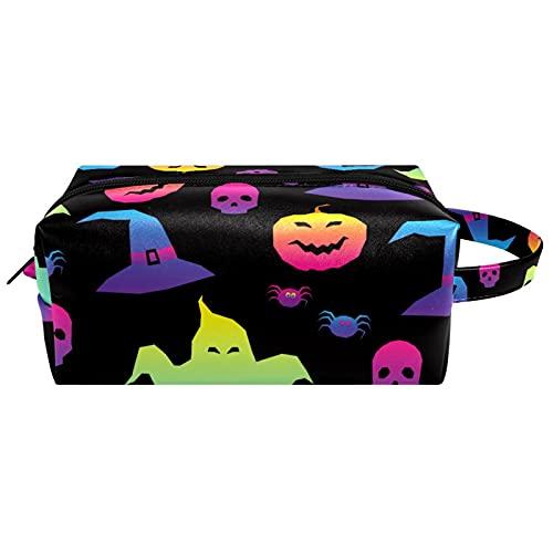 Borsa da viaggio portatile per il trucco per le donne cosmetiche caso organizzatore con maniglia articoli da toeletta gioielli spazzole Pouch Halloween Skull Vintage, Multicolore 10
