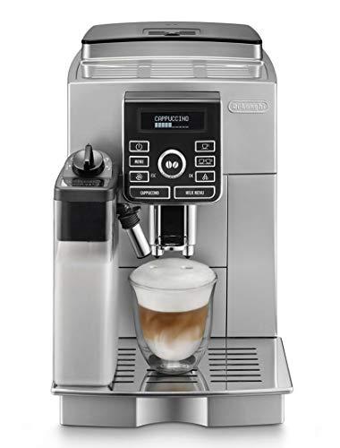 Delonghi super-automatic espresso coffee machine with an adjustable grinder, double boiler, milk frother, maker for brewing espresso, cappuccino, latte, macchiato. ECAM25462S