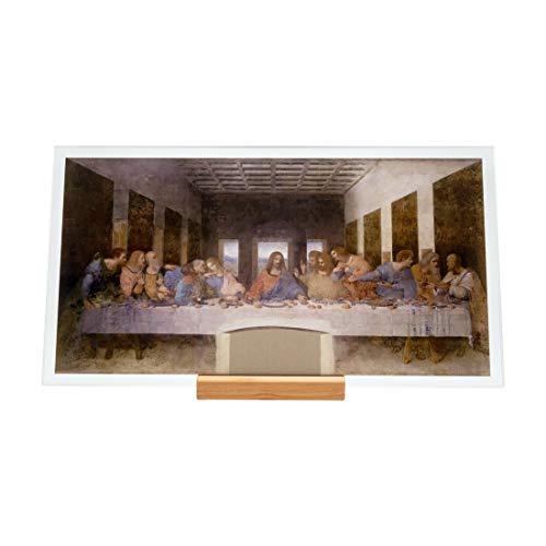 KORBAN Cuadro de cristal impreso visible por ambos lados. Reproducción del cuadro famoso de Leonardo da Vinci: Última Cena. Impresión sobre cristal 22 x 12 cm