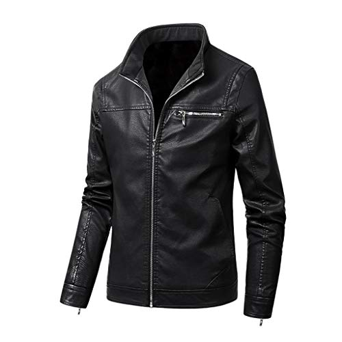 Fanteecy Mens Leather Jacket - Men's Vintage Stand Collar Pu Motorcycle Bomber Leather Jacket Mens Faux Fur Coats Black