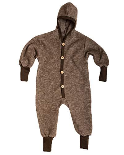 Cosilana Baby Kinder Fleece Overall mit Bündchen am Armen und Füßen, 60% Wolle (kbT), 40% Baumwolle (KBA) (74/80, Braun Melange)