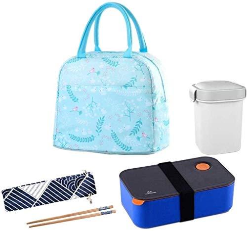 Nfudishpu Tragbare, isolierte Lunchbox aus Edelstahl mit Lunch-Bag und tragbarem Utensil, BPA-freier, auslaufsicherer Vorratsbehälter für Lebensmittel.(Farbe: Grau) (Farbe: Blau)
