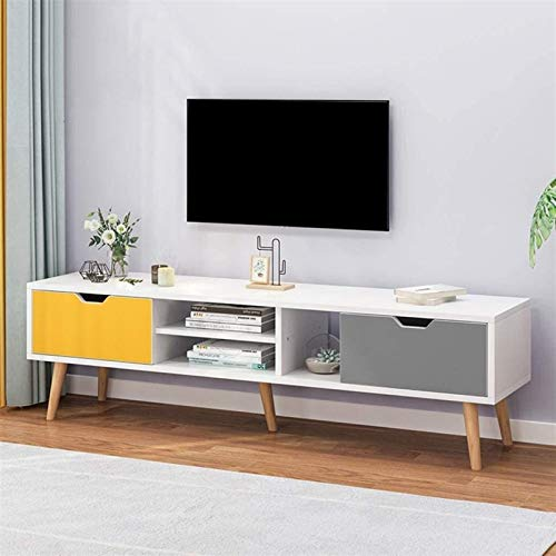 CSD Television Stand Modern Media Stand Entertainment Center TV Storage Console Free Standing TV Cabinet (Color : Blue+gray, Size : 140x30x43CM)