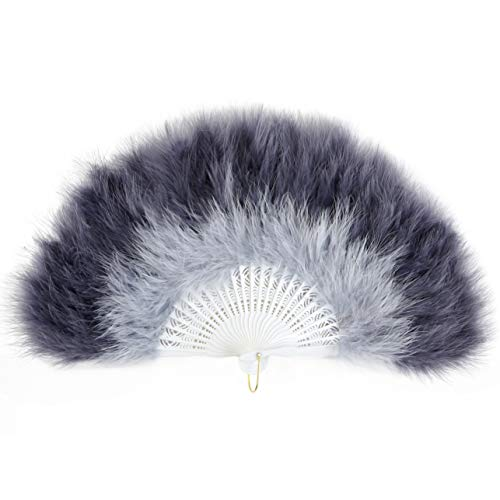 Coucoland 1920s - Abanico de plumas plegable para mujer