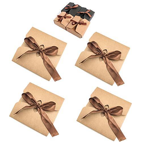 Schneespitze 25 Stück Kraftpapier Geschenkbox,Hochzeitsfest Geschenk Verpackung Geschenkschachtel Kraftpapier Kartonage für Babyparty Taufe Geburt,Hochzeit