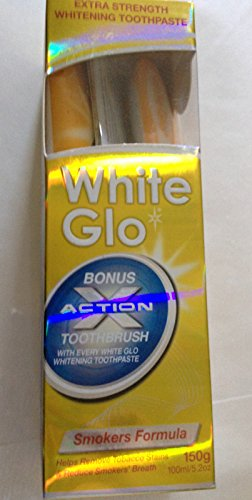 White Glo SMOKERS FORMULA Intense Extra Strength Whitening Toothpaste & Bonus Action Toothbrush-150G NEW