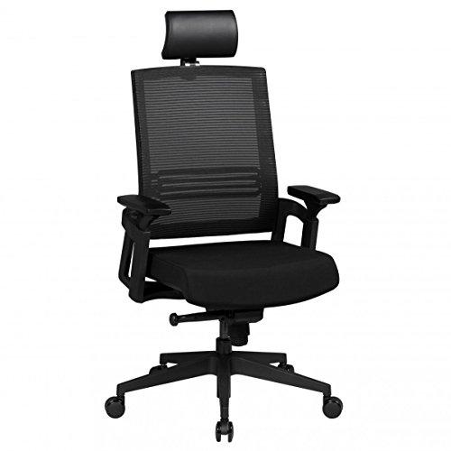 AMSTYLE Bürostuhl APOLLO A1 Stoffbezug Schreibtischstuhl höhenverstellbar Armlehne ergonomisch verstellbar schwarz Chefsessel Design 120kg Drehstuhl Synchronmechanik hohe Rücken-Lehne XXL Hochlehner