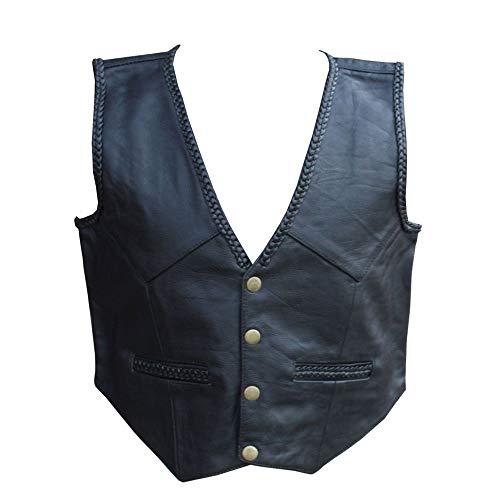 Chaleco/chaleco de cuero trenzado negro para niños y niñas