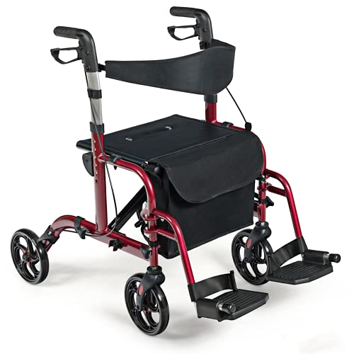 COSTWAY Folding Rollator Walker, Wheeled Walking Frame with Seat, Brake,...