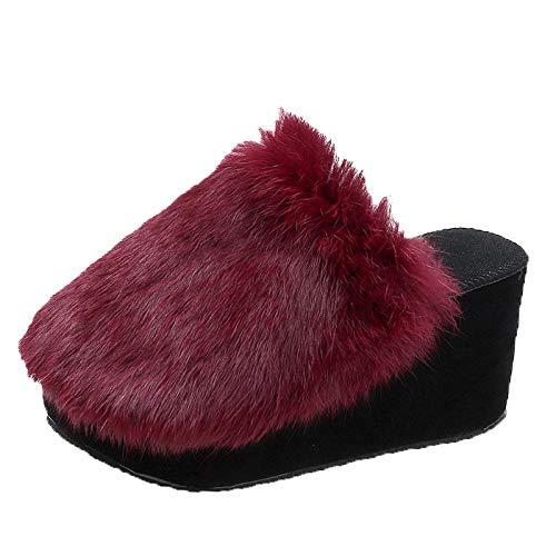 N/W Zapatillas de Interior, Zapatillas de Piel para Mujer, Zapatillas de algodón con Suela Gruesa para Winter-Red Wine_38