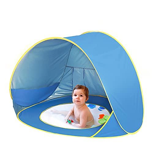 Tenda Spiaggia Bambini, 50+ UPF Protezione UV Tenda Bambini Pop Up Portatile con Mini Piscina Tenda per Neonati Pieghevole per Campeggio, Giardino Domestico, Spiaggia