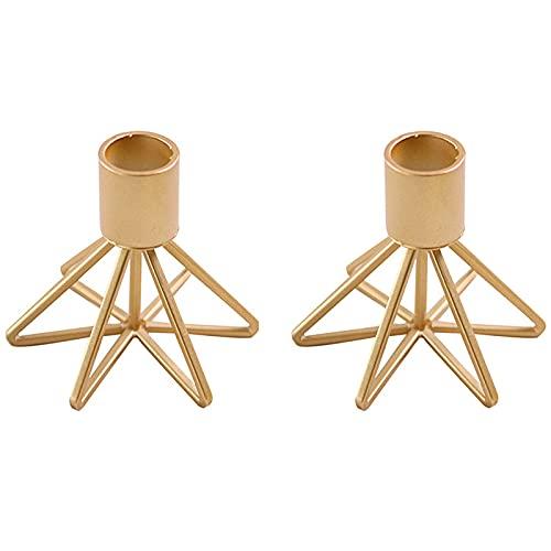 Yemiany candelabri moderni, porta candele da tavolo candelabro oro, Robusto e durevole, è adatto per la decorazione della scrivania di casa, per matrimoni e feste. 2 PZ (8.5x7.5 cm)