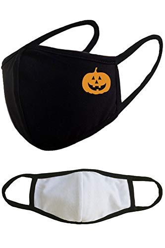 Pumpkin Halloween Reusable Washable Cotton Face Masks - Black Adults