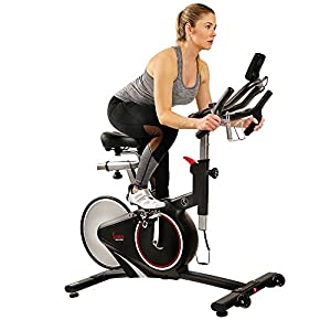 Sunny Health & Fitness Magnetic Rear Belt Drive Indoor Cycling Bike with RPM Cadence Sensor – SF-B1709, Black