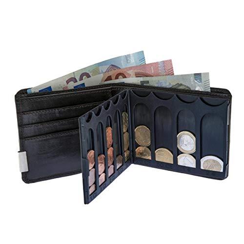 EiMiX Nappa Geldbeutel - für sortierte Münzen - echtes Vollrindleder Portmonee flach moderner Look Geldbörse Querformat - Made in Germany (Braun)