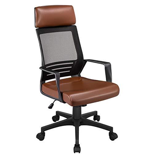 Yaheetech Gaming Stuhl Bürostuhl Schreibtischstuhl Ergonomischer Drehstuhl Computerstuhl Chefsessel, mit Kopfstütze, für Soho- oder Büroarbeit