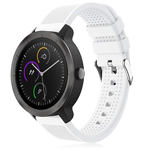 TOPsic Correa para Garmin Vivoactive 3 Correas, 20mm Pulsera Reemplazo Silicona Correa para Vivoactive 3/Vivomove HR/Forerunner 645 Music/245 /Galaxy Watch 42mm/Galaxy Watch Active/Gear S2 Classic
