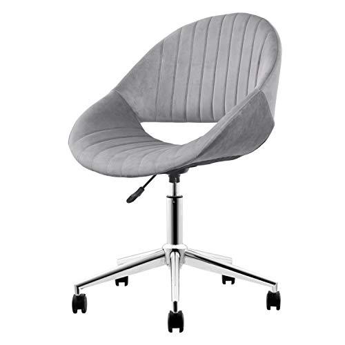 XIZZI Cute Desk Chair,Adjustable Swivel Office Chair for Girl, Velvet Chair with Wheels (Grey-Chrome Frame)