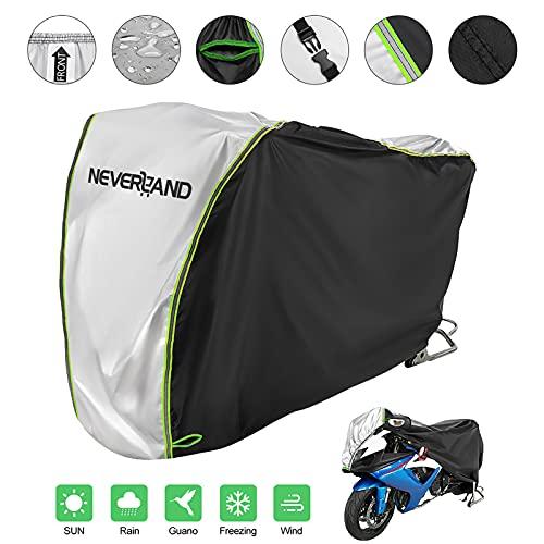 Neverland Telo Coprimoto,Impermeabile Telo Moto Cover con Tessuto Oxford 201D Telo Copri Moto Scooter Esterno Universale Copertura Moto Protetto contro Neve Vento Polvere Pioggia Grandine XXXL