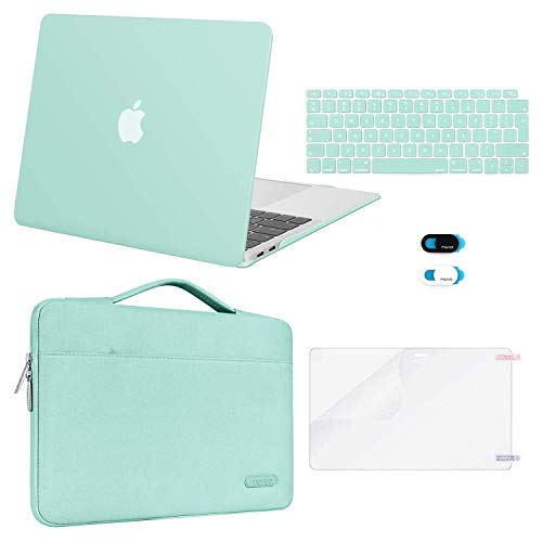 MOSISO MacBook Air 13 inch Case 2020 2019 2018 Release A2337 M1 A2179 A1932,Plastic Hard Case&Bag&Keyboard Skin&Webcam Cover&Screen Protector Compatible with MacBook Air 13 inch Retina, Mint Green