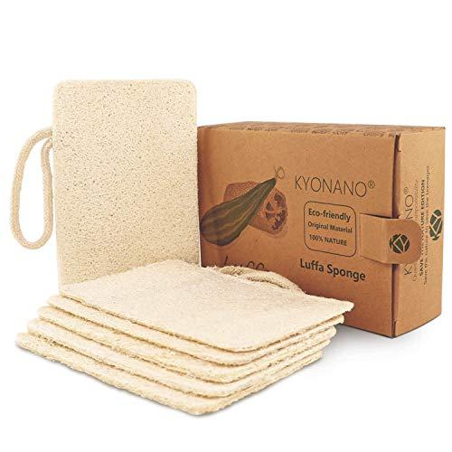 KYONANO Esponjas de luffa, 6 Piezas de la Esponja de Loofah, exfoliante de lufa orgánica Fabricado de lufa egipcia superior/100% orgánico, biodegradable y ecológico