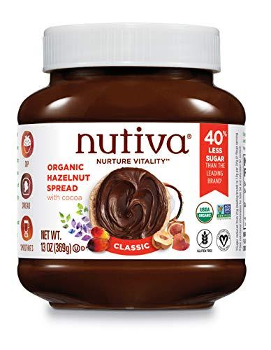 Nutiva Organic Vegan Hazelnut Spread, Classic Chocolate, 13 Ounce | USDA Organic, Non-GMO, Fair Trade & Sustainably Sourced | Vegan & Gluten-Free | Plant-Based Superfood Spread with Less Sugar
