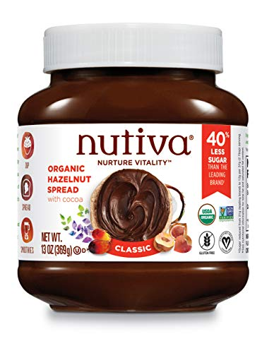 Nutiva Organic Vegan Hazelnut Spread, Classic Chocolate, 13 Ounce | USDA Organic, Non-GMO, Fair Trade & Sustainably Sourced | Vegan & Gluten-Free | Plant-Based Superfood Spread with Less Sugar