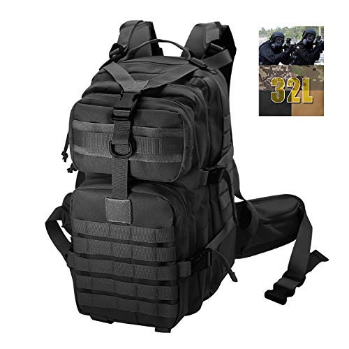 Tactical Backpack for Men Small Military for Hiking Fishing Travel Survival Camping Rucksack Black Bag