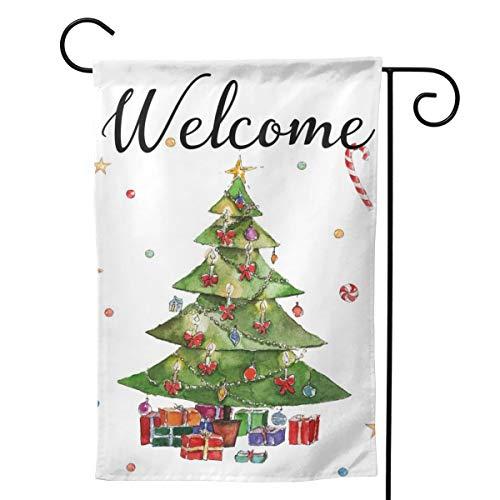 Emonye Drapeau de Jardin Double Face avec Inscription « Welcome Christmas Tree » pour décoration de Maison, fête de Vacances, Anniversaire, Cour – 45,7 x 31,8 cm