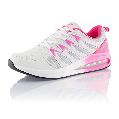 Fusskleidung® Damen Herren Sportschuhe Dämpfung Sneaker leichte Laufschuhe Weiß Grau Pink EU 40