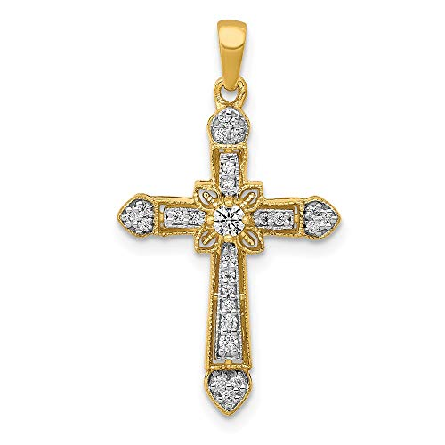 14ct Yellow Gold 1/6 cttw Diamond Filigree Cross Pendant