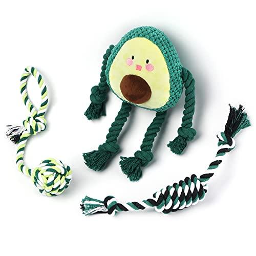Toozey Welpenspielzeug Hundespielzeug Avocado - 3 Stk Hundespielzeug Unzerstörbar für Welpen & Kleine - Hundezubehör Hunde Spielsachen Spielzeug Hund Hundespielzeug Set - Natürliche Baumwolle ungiftig