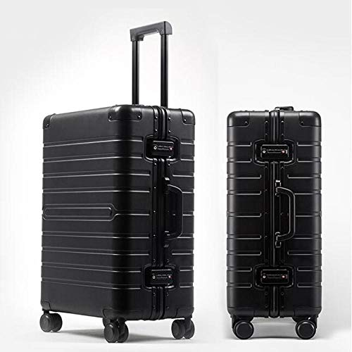 SFBBBO luggage suitcase 100% Aluminium hand luggage spinner metal large hard trolley suitcase with wheels 24' BLACK