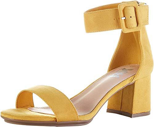 XTI 35196.0, Zapatos con Tira de Tobillo Mujer, Amarillo (Amarillo Amarillo), 36 EU
