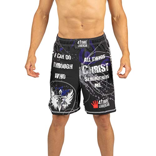 4-Time Shorts, MMA, Fight Shorts, WOD, BJJ, NoGi, Powerlifting, Crossfit, MMA, Muay Thai, Jiu Jitsu, Black, Camo, Blue, Red (Sizes: Youth 3XS to Adult 3XL) (XX-Small, Philippians 4:13)