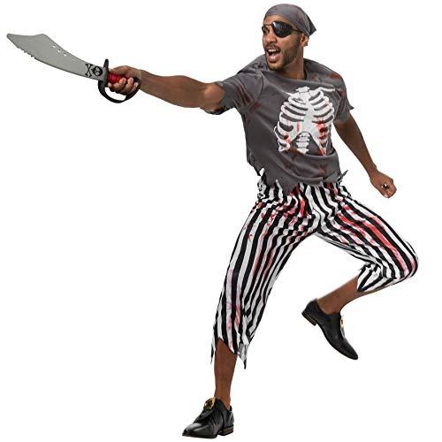 dressforfun 900442 - Herrenkostüm Gruseliger Pirat, Gruseliges und blutbeschmiertes Piraten-Outfit (L | Nr. 302272)