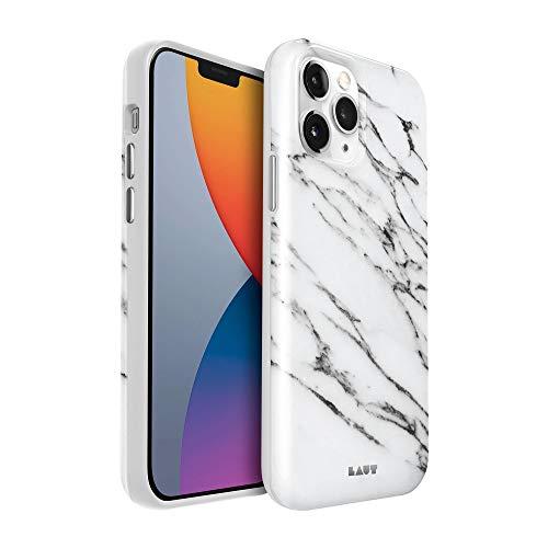 LAUT - Funda HUEX Elements para el iPhone 12 / iPhone 12 Pro   Diseño clásico de mármol   Protección contra Impactos hasta 4 Metros   Funda antimicrobiana • Marble White