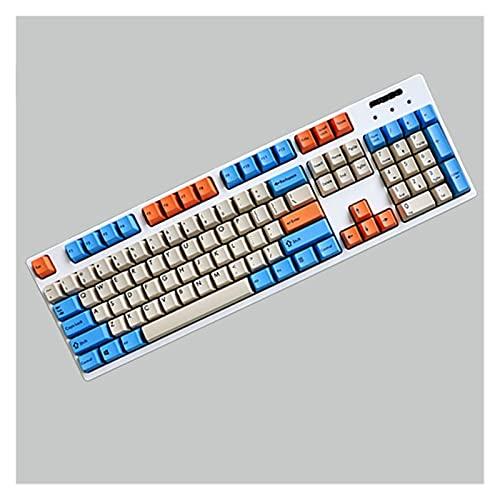 Wuyuana keycaps 104 Teclas PBT KeyCap OEM Perfil Sublimación Llavero Personalizado Conjunto De Teclados Mecánicos De Cereza Teclado keycaps (Color : Orange Blue)