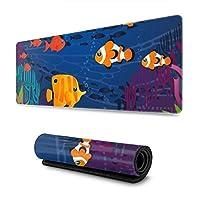 水中のカラフルな魚 マウスパッド ノンスリップ 防水 高級感 習慣 パターン印刷 ゲーミング ホビー 事務 おしゃれ 学習 30X80CM